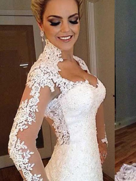 Trumpet/Mermaid V-neck Applique Long Sleeves Sweep/Brush Train Lace Wedding Dresses