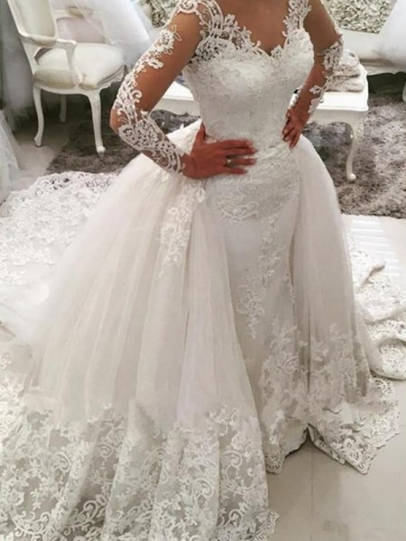 Ball Gown Applique Long Sleeves Cathedral Train V-neck Lace Tulle Wedding Dresses