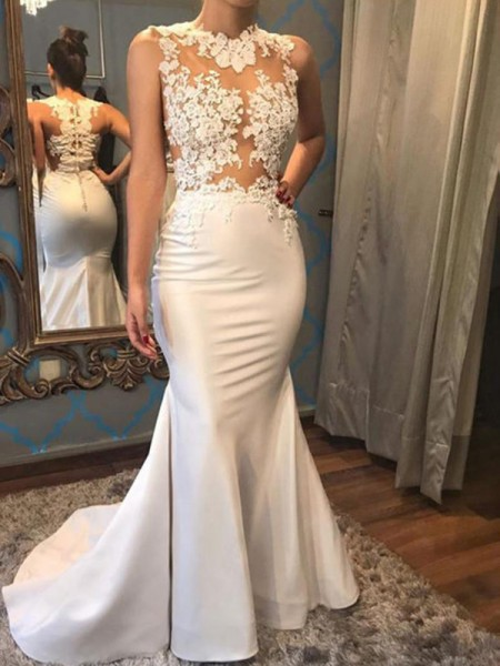 Trumpet/Mermaid Scoop Court Train Sleeveless Applique Satin Wedding Dresses