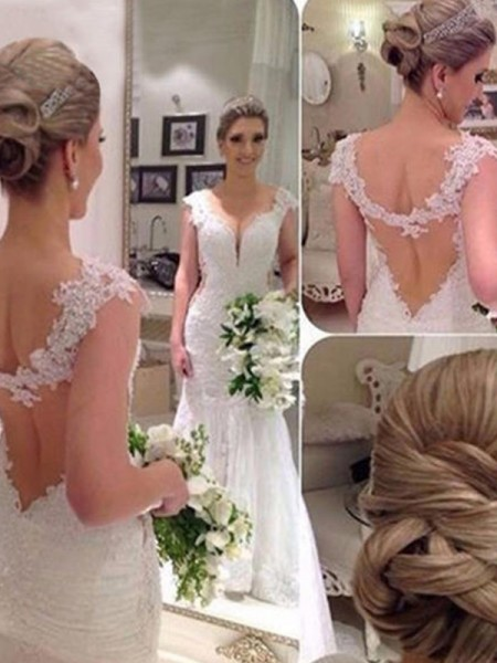 Trumpet/Mermaid Sleeveless Sweep/Brush Train Applique Lace Tulle V-neck Wedding Dresses