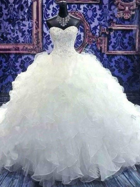 Ball Gown Sweetheart Chapel Train Beading Sequin Organza Sleeveless Wedding Dresses