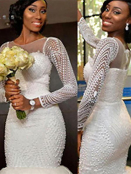Trumpet/Mermaid Long Sleeves Scoop Sweep/Brush Train Beading Tulle Wedding Dresses
