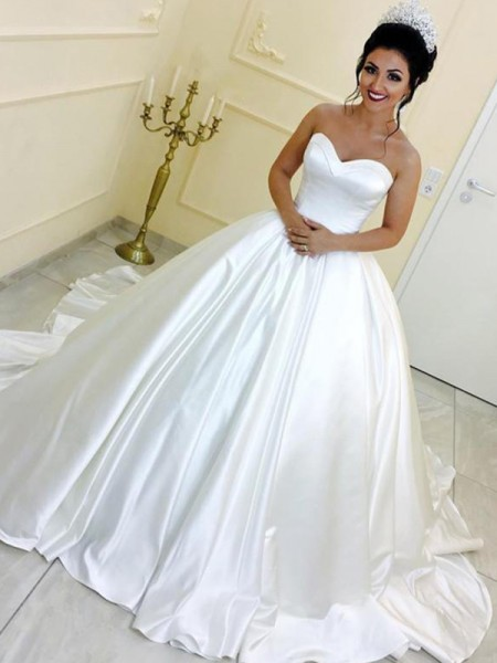 Ball Gown Sweetheart Satin Sash/Ribbon/Belt Sleeveless Cathedral Train Wedding Dresses