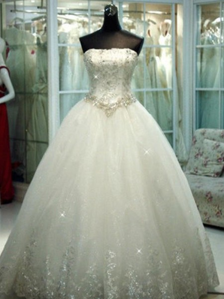Ball Gown Beading Tulle Strapless Sleeveless Floor-Length Wedding Dresses