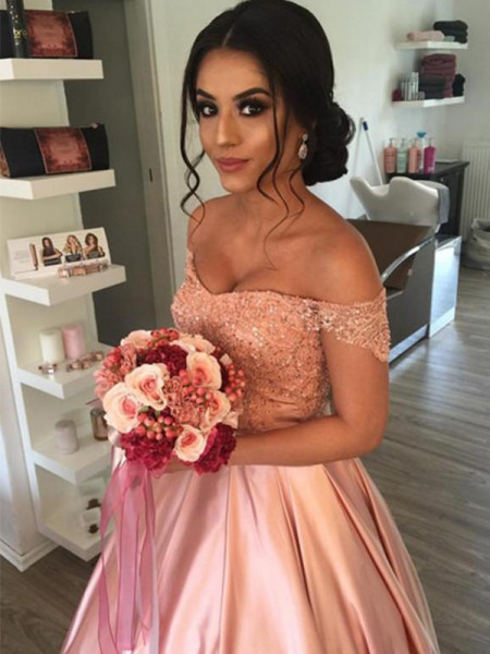 Ball Gown Sleeveless Satin Ruffles Off-the-Shoulder Cathedral Train Wedding Dresses