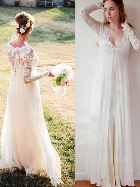 Empire Chiffon Lace Long Sleeves V-neck Floor-Length Wedding Dresses