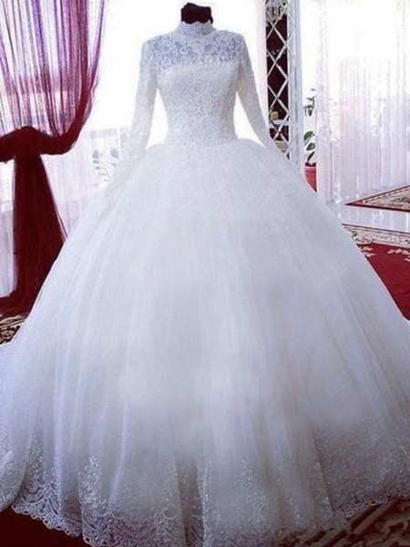 Ball Gown Lace Tulle Long Sleeves High Neck Chapel Train Wedding Dresses