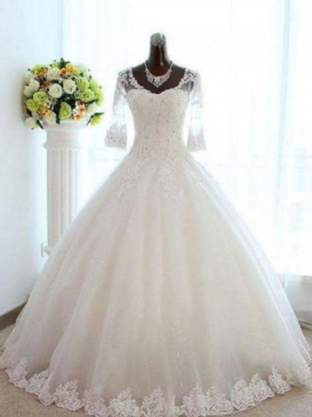 Ball Gown Beading Tulle 3/4 Sleeves V-neck Bateau Floor-Length Wedding Dresses