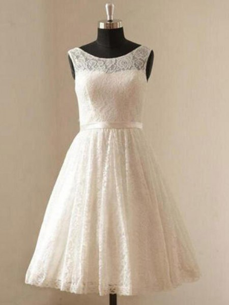 A-Line/Princess Sleeveless Scoop Lace Sash/Ribbon/Belt Knee-Length Wedding Dresses