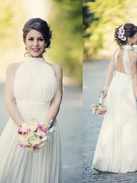 A-Line/Princess Sleeveless Halter Ruffles Tulle Floor-Length Wedding Dresses