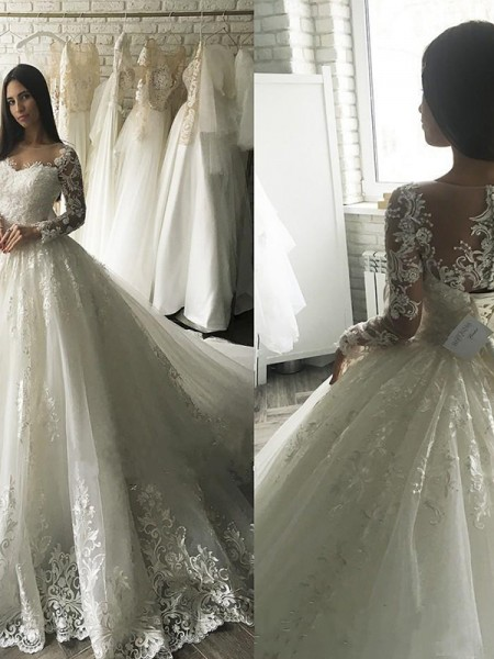 Ball Gown Tulle Scoop Court Train Long Sleeves Applique Wedding Dresses