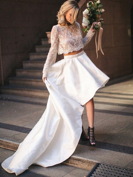 A-Line/Princess Two Piece Satin Lace Scoop Sweep/Brush Train Long Sleeves Wedding Dresses