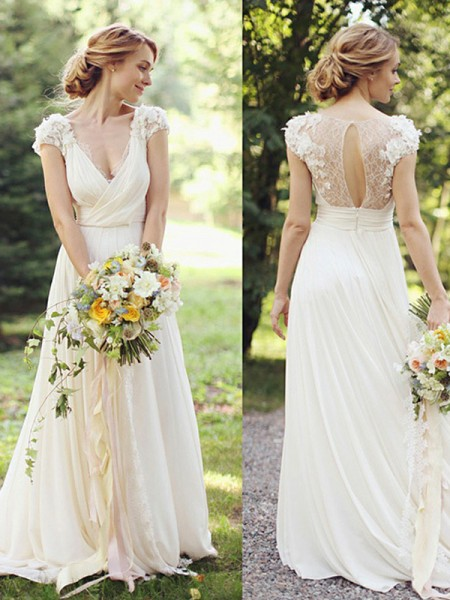A-Line/Princess V-neck Short Sleeves Chiffon Ruched Sweep/Brush Train Wedding Dresses