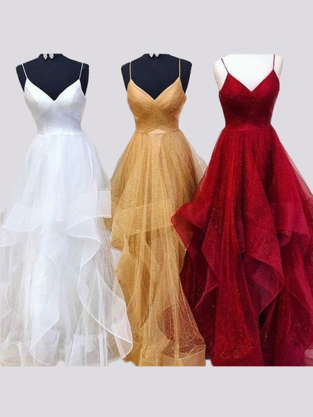 A-Line/Princess Organza Sleeveless Spaghetti Straps Floor-Length Dresses