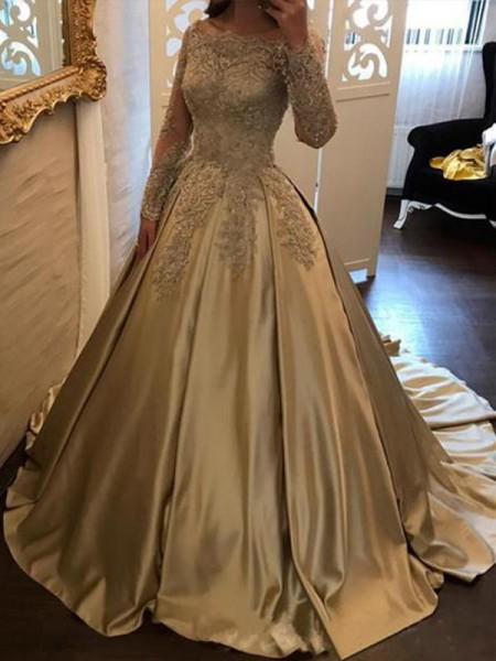 Ball Gown Satin Long Sleeves Off-the-Shoulder Sweep/Brush Train Dresses