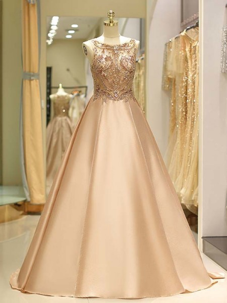 Ball Gown Satin Sleeveless Bateau Sweep/Brush Train Dresses