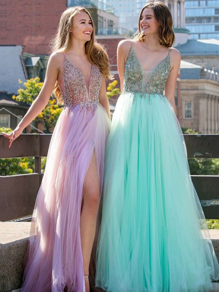 A-Line/Princess Tulle Sleeveless V-neck Floor-Length Dresses