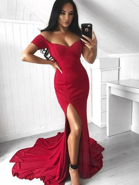 Trumpet/Mermaid Spandex Sleeveless Off-the-Shoulder Court Train Dresses