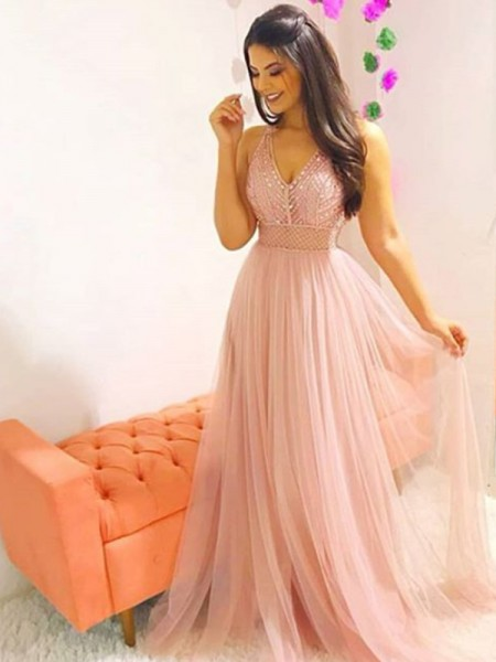 A-Line/Princess Tulle Sleeveless V-neck Sweep/Brush Train Dresses