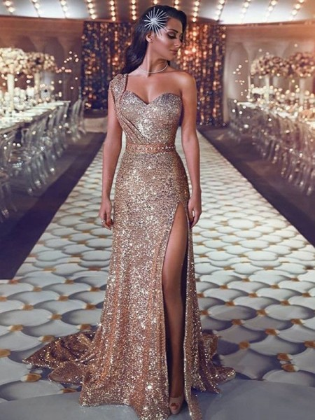Sheath/Column Beading Sleeveless Sequins One-Shoulder Sweep/Brush Train Dresses