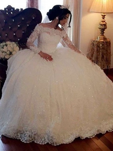 Ball Gown Lace Long Sleeves Tulle Bateau Floor-Length Wedding Dresses