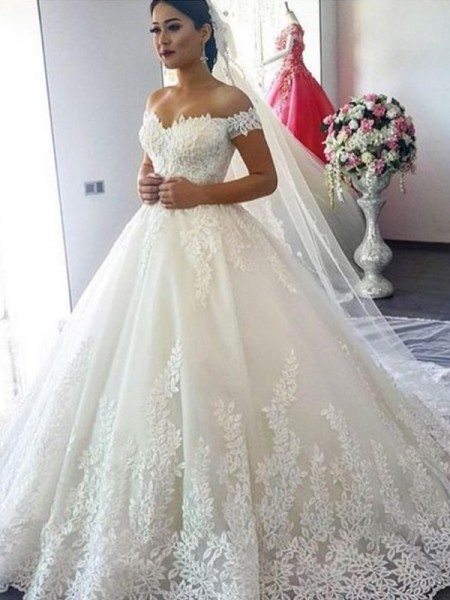 Ball Gown Lace Sleeveless Tulle Off-the-Shoulder Sweep/Brush Train Wedding Dresses