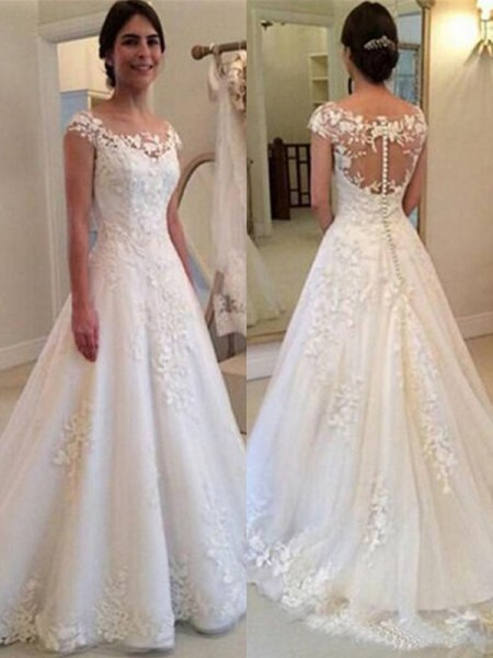 A-Line/Princess Lace Sleeveless Tulle Scoop Sweep/Brush Train Wedding Dresses