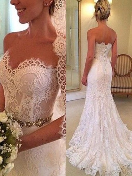 Sheath/Column Beading Sleeveless Lace Sweetheart Sweep/Brush Train Wedding Dresses