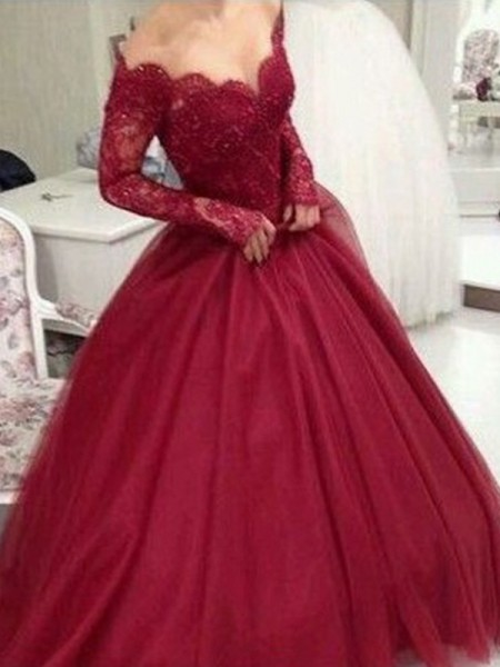 Ball Gown Lace Long Sleeves Tulle V-neck Floor-Length Dresses