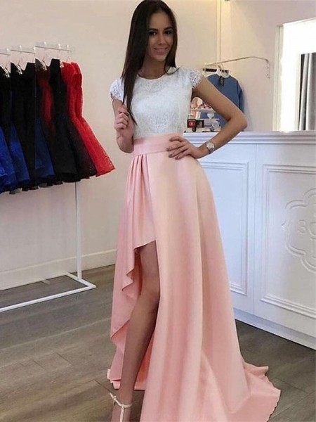 A-Line/Princess Lace Short Sleeves Satin Scoop Sweep/Brush Train Dresses