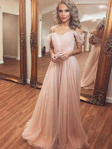 A-Line/Princess Ruched Sleeveless Tulle Off-the-Shoulder Sweep/Brush Train Dresses