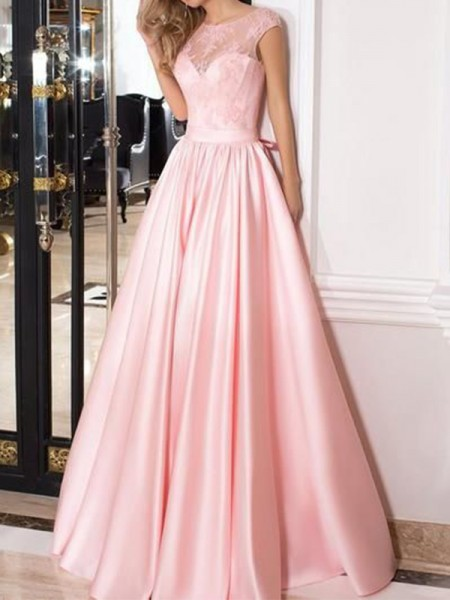 A-Line/Princess Lace Floor-Length Sheer Neck Sleeveless Satin Dress