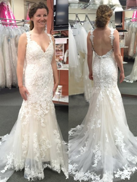 Trumpet/Mermaid Applique Sweep/Brush Train Straps Sleeveless Tulle Wedding Dresses