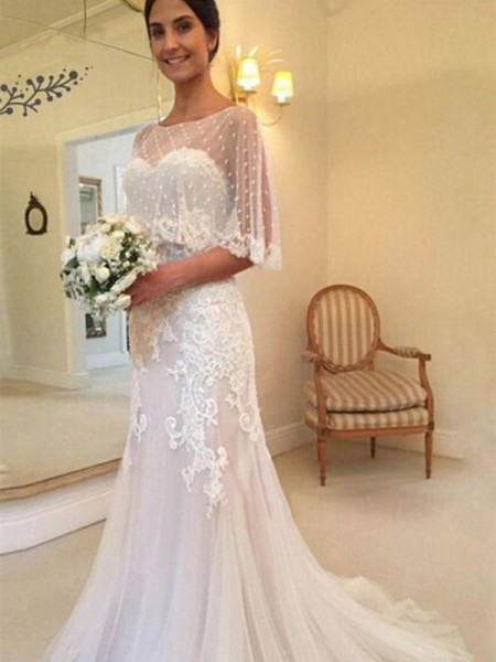 Sheath/Column Applique Sweep/Brush Train Sweetheart Sleeveless Tulle Wedding Dresses