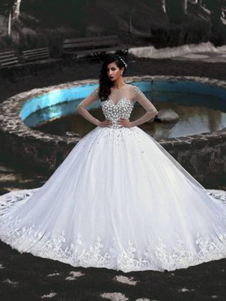 Ball Gown Beading Sweep/Brush Train Scoop Long Sleeves Tulle Wedding Dresses