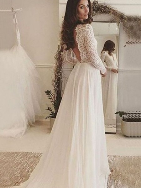 A-Line/Princess Lace Sweep/Brush Train Scoop Long Sleeves Chiffon Wedding Dresses