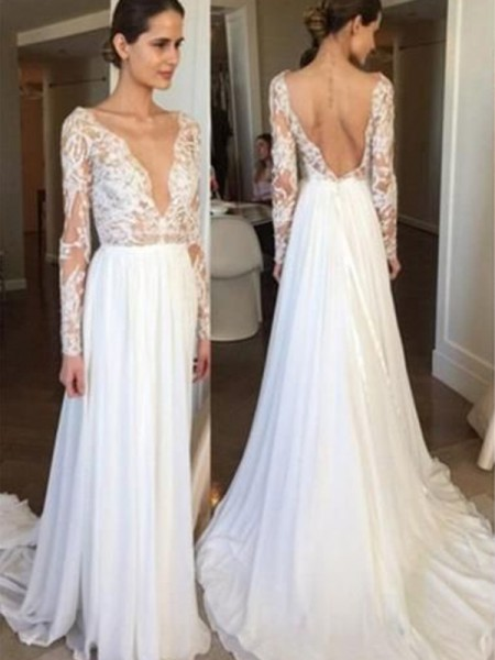 A-Line/Princess Lace Sweep/Brush Train V-neck Long Sleeves Chiffon Wedding Dresses