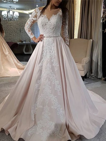 A-Line/Princess Applique Sweep/Brush Train V-neck Long Sleeves Satin Wedding Dresses