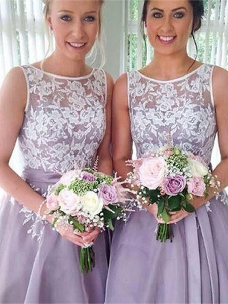 A-Line/Princess Applique Knee-Length Sheer Neck Sleeveless Organza Bridesmaid Dresses