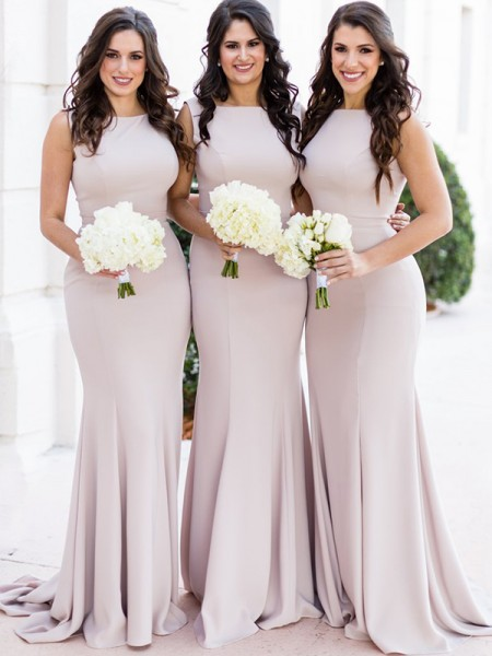 Sheath/Column Sweep/Brush Train Sheer Neck Sleeveless Spandex Bridesmaid Dresses