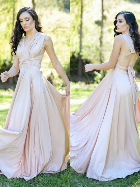 A-Line/Princess Ruffles Floor-Length V-neck Sleeveless Silk like Satin Bridesmaid Dresses