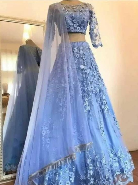 A-Line/Princess 3/4 Sleeves Tulle Scoop Floor-Length Applique Dresses