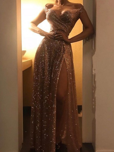 A-Line/Princess Sleeveless Sequins Off-the-Shoulder Floor-Length Ruched Dresses