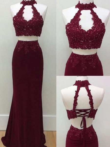 Sheath/Column Sleeveless Spandex Halter Floor-Length Applique Dresses