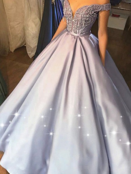 Ball Gown Sleeveless Satin Off-the-Shoulder Floor-Length Beading Dresses