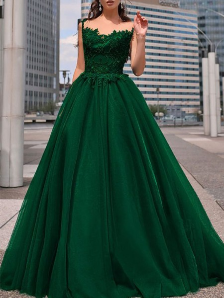 A-Line/Princess Sleeveless Tulle Bateau Floor-Length Beading Dresses