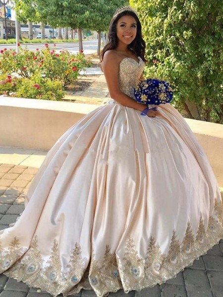 Ball Gown Sleeveless Sweep/Brush Train Satin Beading Sweetheart Dresses