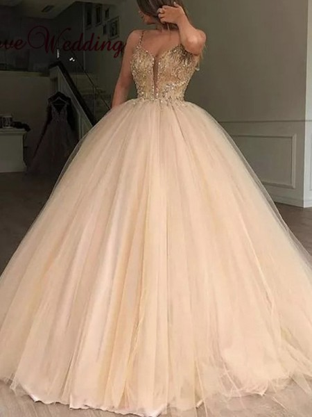 Ball Gown Sleeveless V-neck Tulle Beading Floor-Length Dresses