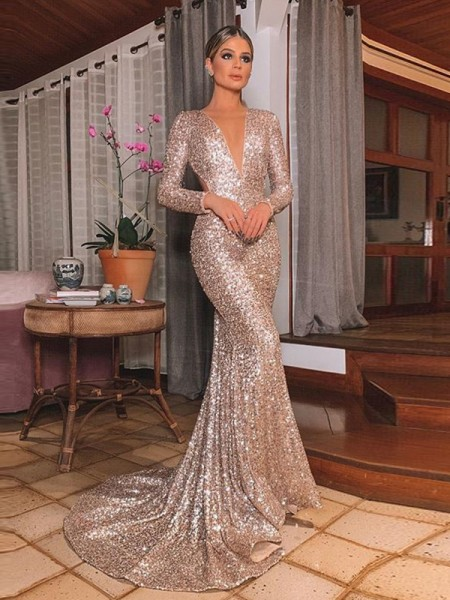 Trumpet/Mermaid Sequins V-neck Sweep/Brush Train Long Sleeves Ruffles Dresses