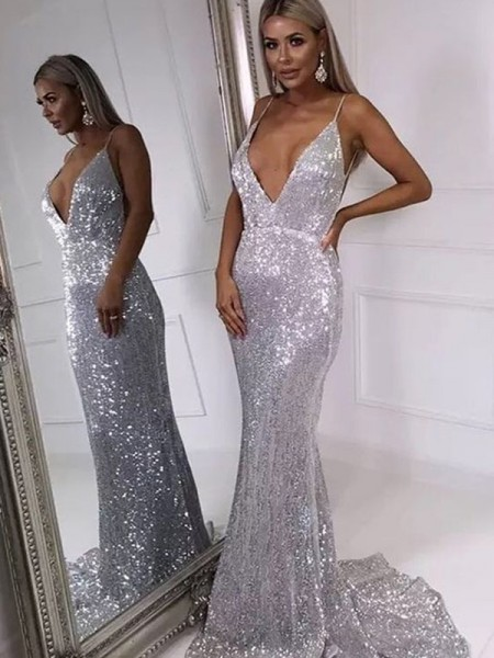 Trumpet/Mermaid Sleeveless V-neck Sweep/Brush Train Sequins Ruffles Dresses